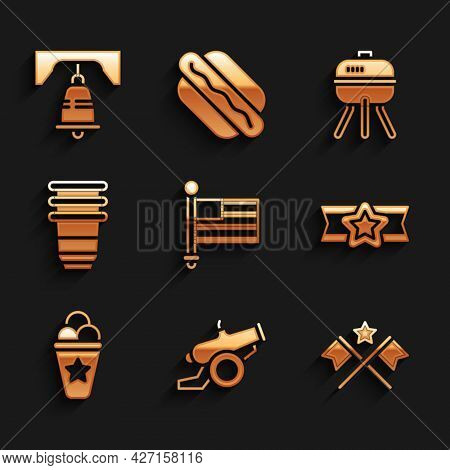 Set American Flag, Cannon, Star Military, Ice Cream In Waffle Cone, Paper Glass, Barbecue Grill And