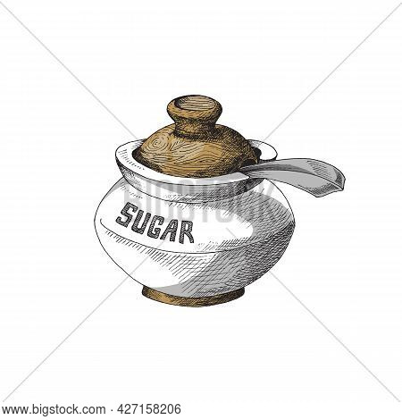 Hand Drawn Sugar Bowl With Wooden Lid And Spoon. Vector Illustration Of Sugar Bowl Isolated On White