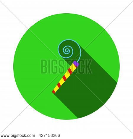 Party Whistle Icon. Flat Circle Stencil Design With Long Shadow. Vector Illustration.
