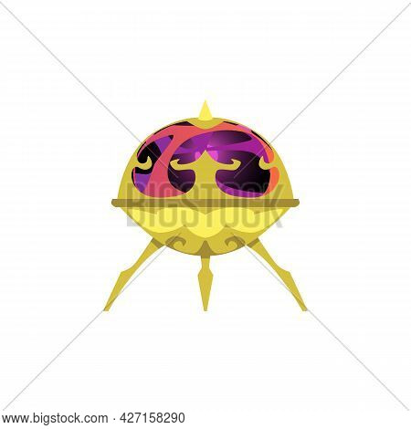 Cartoon Alien Unidentified Spaceship, Extraterrestrial Flying Ufo.