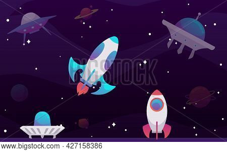 Banner With Ufo Spaceships Flying In Galaxy Using Science Technology Unidentified