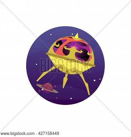 Alien Unidentified Spaceship, Cartoon Ufo, Extraterrestrial Flying Saucer.