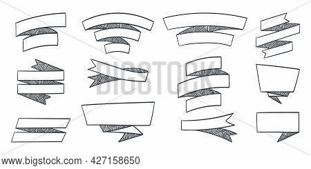 Ribbon Elements. Drawn Modern Ribbons. Ribbon Stripes Banners. Vector Illustration