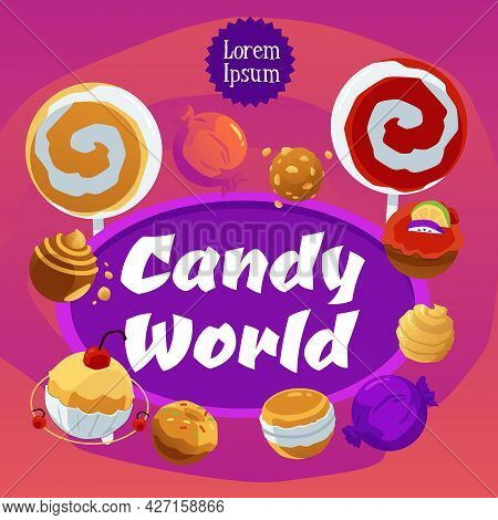 Candy World Square Banner With Lollipops And Candies, Flat Vector Illustration.