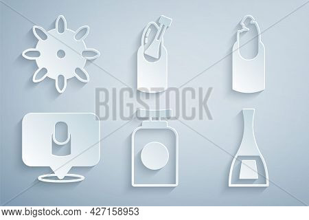 Set Tube Of Hand Cream, Broken Nail, Manicure, Bottle Polish, Nail Manicure And False Nails Icon. Ve