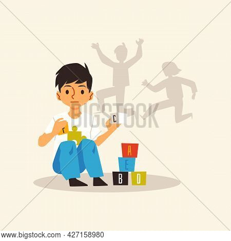 Alone Kid Boy With Autism Syndrome Playing With Toy Cubes A Vector Illustration.