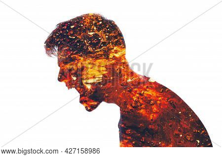 Mad Scream. Angry Man. Conflict Person. Aggression Neurosis. Double Exposure Of Furious Male Silhoue