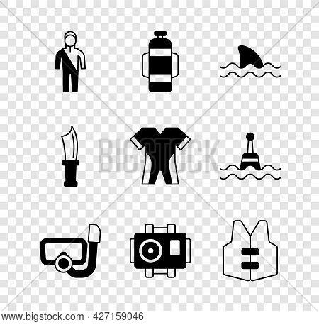 Set Wetsuit For Scuba Diving, Aqualung, Shark, Diving Mask With Snorkel, Photo Camera Diver, Life Ja