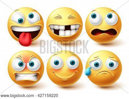 Emoji Funny Emoji Vector Set. Emojis Emoticon Yellow Icon Collection Isolated In White Background Fo