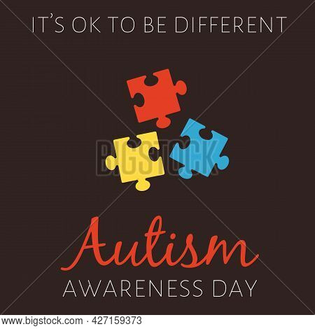 Flat Colorful Vector Poster With Color Puzzles For World Autism Awareness Day.