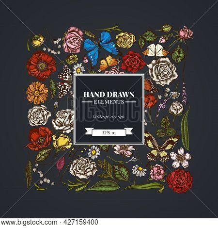 Square Floral Design On Dark Background With Shepherd S Purse, Heather, Iris Japonica, Sakura, Gypso