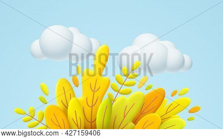 Hello Autumn 3d Minimal Illustration With Autumn Yellow, Orange Leaves And White Cloud Isolated On B