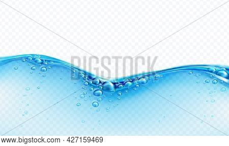 Blue Transparent Water Wave Splash With Bubbles Isolated On White Background. Real Transparent Water