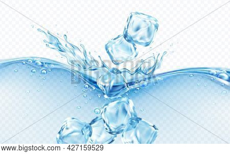 Ice Cubes Falling Into Blue Transparent Wave Of Water Splash With Bubbles Isolated On White Backgrou