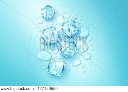 Realistic Ice Cubes And Water Drops On A Blue Background. Top View Of Melting Ice Cubes. Vector Illu