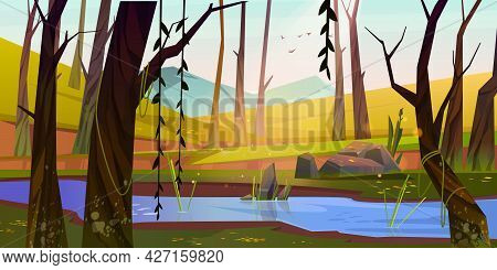 Spring Forest With River, Green Grass And Mountains On Background. Morning Scene Of Natural Park Wit
