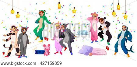 Kigurumi Pajama Party, Young People In Animal Costumes Frog, Shark, Cow And Panda, Bat, Pig And Unic