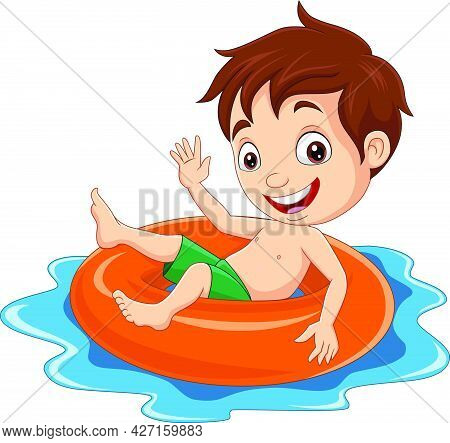 Vector Illustration Of Cartoon Little Boy Floating With Inflatable Ring
