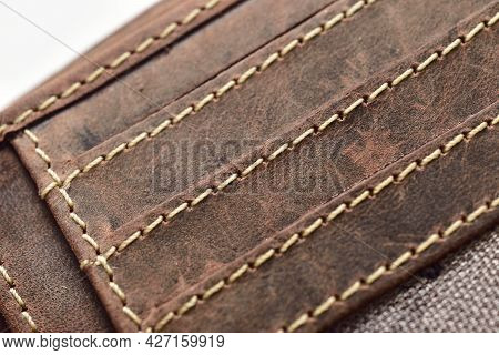Closeup Of Leather Wallet Stitches, Wallet Stitches