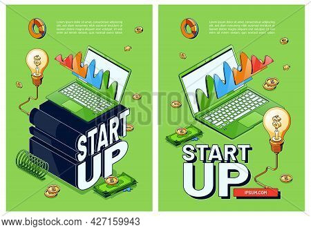 Startup Posters. Concept Of Launch Start Up Business With Innovation Ideas And Technologies. Vector