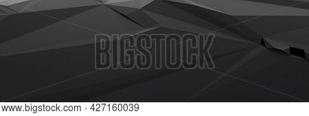 A black low poly background banner. 3D illustration