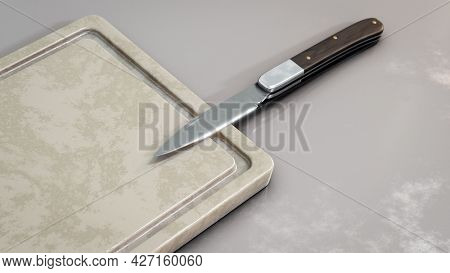 A knife and a cutting board. 3D illustration