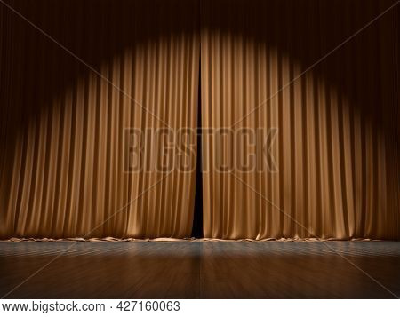 A typical stage curtain background. 3D illustration