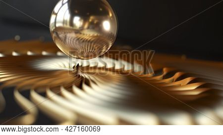 A nice abstract metal swirl sphere background 3d illustration