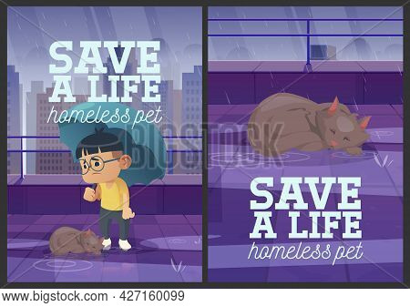 Save A Life Homeless Pet Cartoon Posters. Boy With Umbrella And Stray Cat Under Autumn Rain. Animal