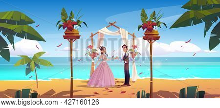 Beach Wedding, Bride And Groom Newlywed Couple Get Married Under Draped Arch On Seaside. Marriage Ma