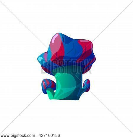 Fantasy Wonderland Psychedelic Mushrooms Flat Vector Illustration Isolated.