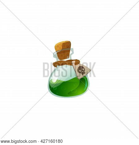 Magic Poison Potion Or Elixir In Glass Corked Bottle A Vector Illustration.