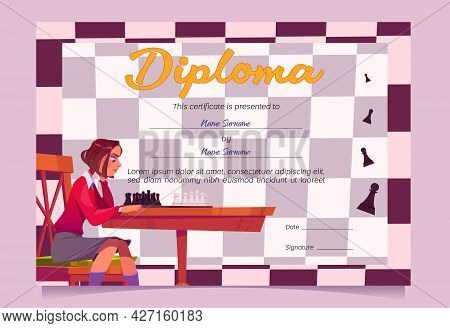 Diploma For Chess Winner Or Tournament Participant. Cartoon Vector Certificate, Award Frame For Club