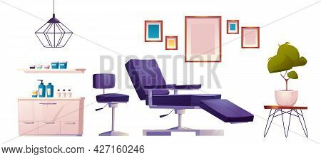 Tattoo Salon Furniture And Tools For Paint Art On Skin. Vector Cartoon Set Of Professional Studio In