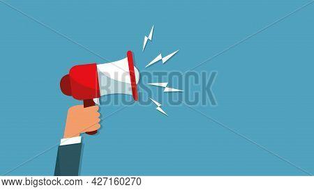 Attention Please. Hand Hold Megaphone. Speaker, Loudspeaker. Advertising And Promotion Symbol.
