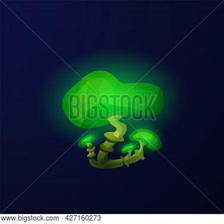 Poisonous Magic Fantasy Mushroom Toadstools, Flat Vector Illustration Isolated.