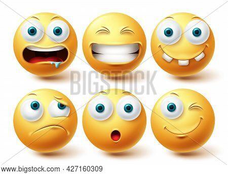 Emoji Funny Emoji Vector Set. Emojis Yellow Emoticon Funny, Happy And Disappointed Icon Collection I