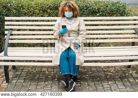 Social Distancing. Covid Impact. Pandemic Loneliness. Young Overweight Woman With Curly Hair In Prot
