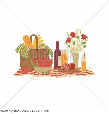 Picnic Still Life With Food On Tablecloth, Flat Vector Illustration Isolated.