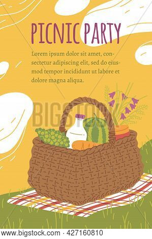 Picnic Invitation Card Or Poster With Place For Text, Flat Vector Illustration.