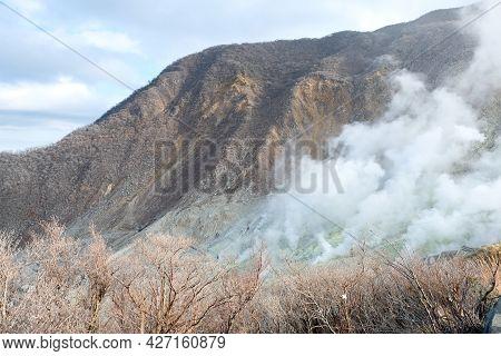 Owakudani Hell Valley ,smoky Inside Hakone Boiling Steam In Kami Mountain ,japan