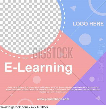 E-learning Social Media Post Banner Template. Editable For So Web Banner For Social Media.vector Ill