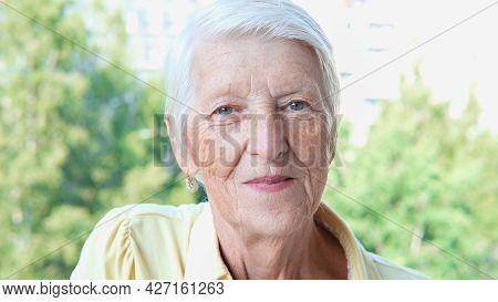 Closeup Smiling Caucasian Senior Woman Posing At Camera In Summer Day In Garden. Senior Lady Looking