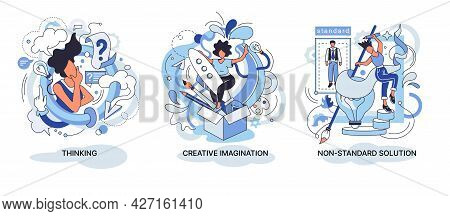 Creative Thinking. People With Different Mental Mindset Types Or Models Creative. Imaginative Non St