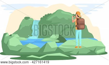 Travel And Vacation. Male Character In Trip With Backpack. Hiking Tourism On Natural Landscape. Man
