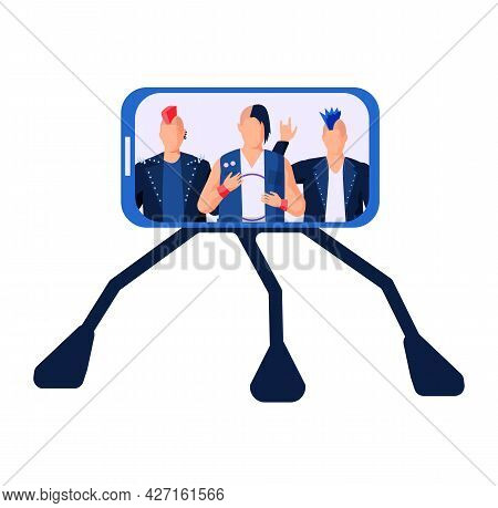 Smartphone On Stand On White Background With Guys In Rock Clothes Communicating In Studio Give Inter