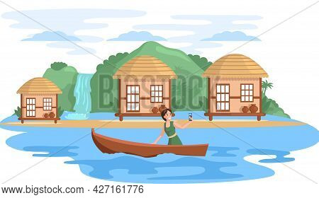 Travel And Journey. Female Character In Vacation On Natural Landscape Takes Selfie In Boat On River