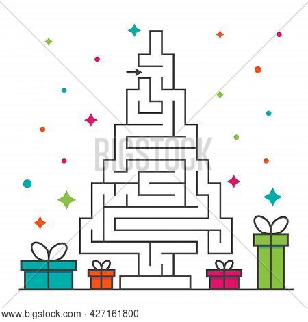 Christmas Tree Maze Labyrinth Game For Kids. Labyrinth Logic Conundrum. One Entrance And One Right W