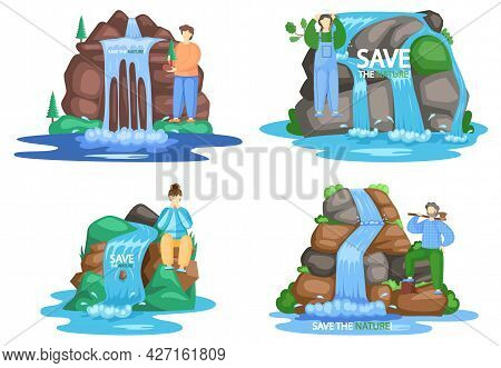 Save Waterfalls Set Of Four Scenes, Rock And Falling Water, Tropical River And Waterfall. Beautiful
