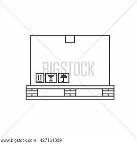 Box On A Pallet Line Icon Illustration For Logistics. Vector Design Isolated On White Background.